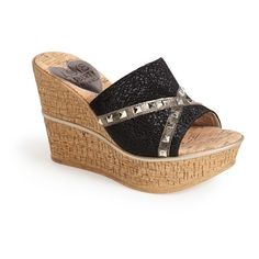 "Love & Liberty 'Margo' Wedge Slide Sandal, 3 3/4"" heel ($130) ❤ liked on Polyvore featuring shoes, sandals, black, wedges shoes, platform slide sandals, black sandals, cork sandals and cork platform sandals"