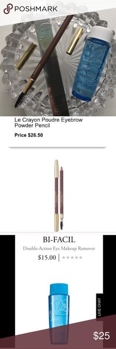 NWT Lancôme Eyebrow Pencil in Chataigne & Bi-Facil NWT Lancôme Le Crayon Poudre Brow Expert in Chataigne & Bi-Facils Eye Makeup Remover Travel BNIB! Built-In Spoolie & High Quality Dual Size Pencil Sharpener. TOTAL VALUE $42.00. Lancome Makeup Eyebrow Filler