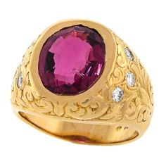 ca. 1980s Hand Engraved Tourmaline Ring