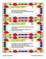 August Daily Journal Prompts - Have Fun Teaching