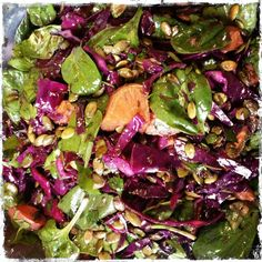 Roast sweet potato, sauteed red cabbage and spinach salad - Can't wait to try this, it looks so beautiful!