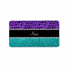Personalized name purple leopard turquoise glitter address label