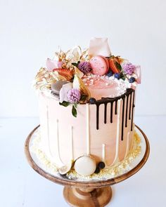 strawberry white chocolate drip cake by Sydney baker Cakes by Cliff