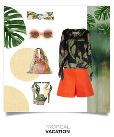 """""""Tropical Vacation"""" by eimerchef ❤ liked on Polyvore featuring Élitis, Charlotte Olympia, Delpozo, MM6 Maison Margiela, Max&Co., Jennifer Behr, Shirtaporter and TropicalVacation"""