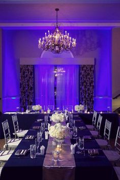 The right lighting will enhance the decor of any venue, and make you and your guests look their best. Up-lighting is used to highlight the walls with color to set the tone of your event. #uplighting #weddingplanning #entertainment