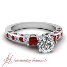 Inline Charm Ring || Round Cut Diamond Side Stone Ring With Red Ruby In 950 Platinum