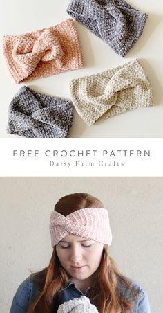 Free Pattern - Easy Crochet Velvet Twist Headband Source by daisyfarmcrafts Accessories Free Crochet Bag, Crochet Crafts, Crochet Yarn, Crochet Stitches, Crochet Patterns, Crochet Projects, Knitted Headband Free Pattern, Crochet Headbands, Crochet Twist