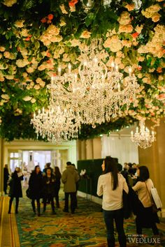 2014 WedLuxe Wedding Show (Part 1)   Ceiling of fresh #roses and #crystal #chandeliers!   Photography by Corina V. Photography