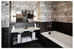 Bathroom Wallpaper is Schumacher New York, New York in Black on White