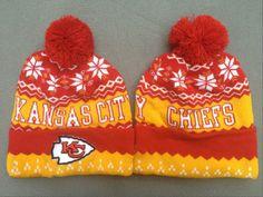58e16fd67a3a2 Kansas City Chiefs Winter Outdoor Sports Warm Knit Beanie Hat Pom Pom New  Era Beanie