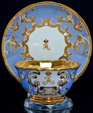 Antique Russian Imperial porcelain cup and saucer from the Peterhof palace service for sale