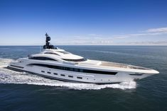 Built by Heesen Yachts, Yalla was one of the worlds most innovative steel construction motor yachts at her time of delivery in 2004. This 239-foot long superyacht was designed by Omega Architects and was also the first fast displacement yacht to be able to reach a top speed of 17 knots with excellent seaworthiness. Yalla's accommodation for 12 guests is spacious and well-equipped, and includes a large Owner's suite on her main deck, two double guest staterooms and two twin guest cabins.