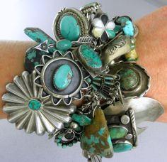 14oz 396G Spectacular Green 67 Charms Navajo Zuni Hopi Turquoise Charm Bracelet   eBay
