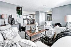 Arbour Duplex Showhome - Essence of SkyView Ranch - Contemporary - Family Room - Calgary - Shane Homes Ltd. Living Room Redo, Living Room Designs, Living Spaces, Family Room Design, Home Builders, New Homes, Arbour, Flooring, Contemporary