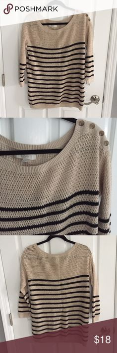 LOFT sweater LOFT black and cream striped sweater. Reposhing because it seems to run larger than expected. I'm great condition! LOFT Sweaters