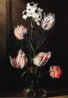 """Flowers in a Glass Vase"" by Jan van den Hecke (the elder). About 1650 oil on panel. From the collection of The Speed Museum, Louisville, KY, on loan to The Orlando (FL) Museum of Art as part of the 2014 exhibition ""Rembrandt, Rubens, Gainesborough and the Golden Age of Painting in Europe"""