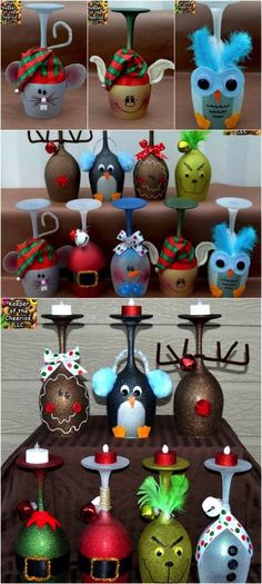 5 Cute and Clever Painting Ideas to Christmas-ify Your Wine Glasses - Decorated wine glasses - Diy Wine Glasses, Decorated Wine Glasses, Painted Wine Glasses, Decorated Wine Bottles, Diy Christmas Gifts, Holiday Crafts, Christmas Decorations, Wine Glass Crafts, Wine Bottle Crafts