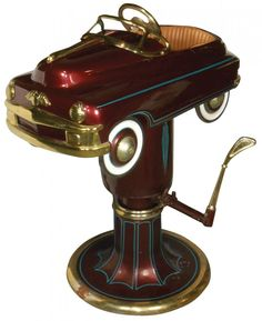 Child's barber chair w/Murray pedal car, maroon & gold