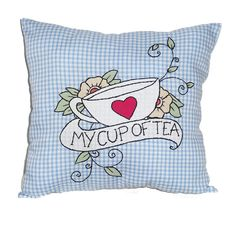 Teacup Cushion Gingham Throw Pillow Tattoo Style by Dollydripp