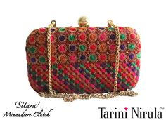 'SITARA' Minaudière  A striking statement piece minaudiere clutch, in vibrant thread work and starry sequins, blending the ethnic with contemporary. Perfect for an Indian wedding or night out. Optional gold chain.Limited Edition piece.