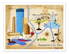 11x14 Minneapolis St. Paul Map Print