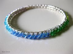 Rainbow Ombre Wire Wrapped Crystal Beaded Bangle