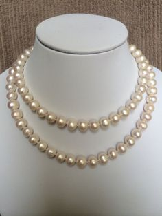 Creamy White Freshwater Pearl Necklace with Silver Toggle clasp jewelry by Tammy Yim Designs