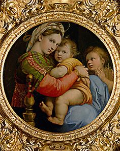 Raphael, Madonna of the chair.  Doing a counted cross stitch pillow of this.