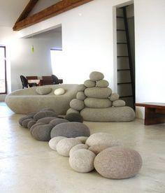 living room - stone furniture