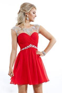 2015 Hot Selling Bateau Homecoming Dresses Short/Mini Rulffled&Beaded Chiffon - Dresscomeon: