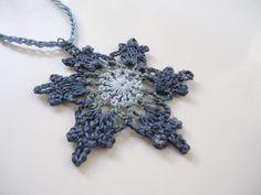 Long crochet necklace blue green necklace crochet pendant hippie pendant flower necklace by AlkistiKnits