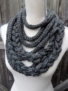 Braided Looped ICord Cowl in Grey  Ready to Ship by BlueDogWoolies, $28.00