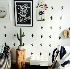 Target faux cactus, 100 hundred percent wall decals, ahoy sailor palm wall tile, choose your own adventure print