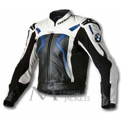 Men's Black White Contrast Blue Lining BMW Racing Motorcycle Biker Leather Jacket Herren, Schwarz, W Motorcycle Riding Jackets, White Motorcycle, Motorbike Jackets, Motorbike Leathers, Motorcycle Leather, Biker Leather, Cowhide Leather, Biker Jackets, Motorbike Cake