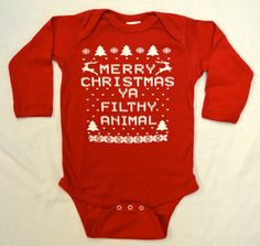 Baby Long Sleeve Onesie (Bodysuit): RED Merry Christmas Ya Filthy Animal Ugly Sweater Contest All Sizes Newborn-6 mth-12 mth-18 mth. ❤