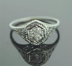 Antique Diamond Ring - 18k White Gold and Diamond Ring http://www.etsy.com/listing/91588258/antique-diamond-ring-18k-white-gold-and?ref=sr_gallery_20_search_query=engagement+ring_view_type=gallery_ship_to=US_page=8_order=price_asc_search_type=vintage