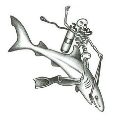 Skeleton Riding a Shark Tattoo Design - TattooWoo.com
