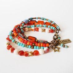 statement multi strand bracelet bohemian OOAK by jcudesigns