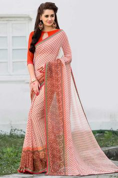 Peach Georgette Saree With Georgette Blouse Price: £ 39 Peach, georgette Printed saree with peach, georgette blouse. Embellished with embroidery. Saree with Fancy Pallu and Lace Border ,Boat Neck Blouse, Quarter Sleeve Blouse. It comes with unstitch blouse, it can be stitched to 34,36,38,40 sizes. http://www.andaazfashion.co.uk/womens/sarees/peach-georgette-saree-with-georgette-blouse-dmv9175.html