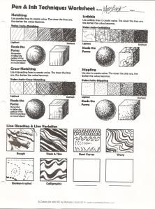 Pen & Ink Techniques Lesson Plan & Worksheet - Create Art with ME Rendering Techniques, Sketching Techniques, Shading Techniques, Art Techniques, Art Handouts, Texture Drawing, Art Worksheets, Ink Pen Drawings, Pen Art