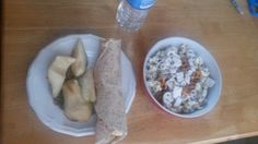 Breakfast: sunflower seeds, pear, banana honey peanut butter cinnamon whole wheat wrap, homemade trail mix and water