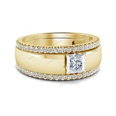 14k Yellow Gold Finish 2.24 Carat Princess Simulated Diamond Silver Wedding Band…