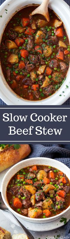 Slow Cooker Beef Stew - This beef stew is the definition of comfort food! It is packed with flavor and that low and slow cooking yields the most tender beef. A staple recipe! #beefstew #soup #recipe