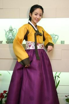 Korean Hanbok: Mustard Yellow and eggplant purple with embroidered corset