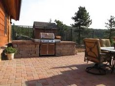 Paver patio with grill surround, fire pit and stone steppers that lead . Built In Braai, Built In Grill, Outdoor Kitchen Patio, Outdoor Dining, Outdoor Kitchens, Dining Area, Patio Grill, Backyard Patio, Grill Area