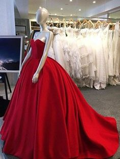 Long prom dress,Red ball gown,red prom dress,simple charming prom dress,evening dress gown,long prom dress with train