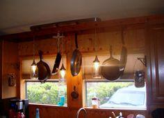 mason jar lighting with pot rack