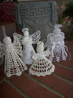 Vintage Christmas Decoration Ornament Crochet Angels Rustic Country Christmas Angel Handmade Tree Topper Farmhouse Decor Set of 4. $20.00, via Etsy.