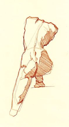 Robert F. Hand: title unknown [study of female nude, rear-view], drawing in sierra contes on paper.