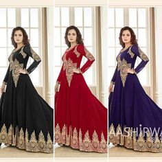 Diya Mirza Beautiful Embroidered Suit  Fabric Details :- Top :- Georgette With Heavy Coding Embroidery work  Stone Sleeves :- Georgette With Coding Emb.work  Stone Bottom :- Santoon Inner :- Santoon Dupatta :- Nazmin Chiffon with Lace Length :- Max up to 53 Size :- Max up to 46 Flair :- 3.00mtr Style :- Long Anarkali Gown Type :- Semi Stitched ( Material ) Weight :- 1.150kg 4Colours :- Black Red Blue & Pink Wash :- First time Dry clean Limited Stock Available Price : 2250 INR Only ! #Booknow…